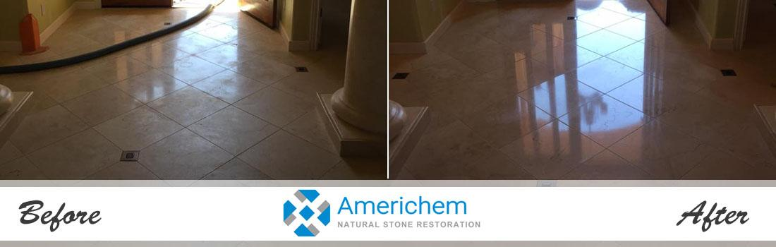 Before and after travertine tile cleaning restoration